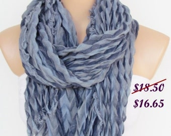 Gray and Blue Long Scarf -Shawl Scarf-New Season-Necklace-Cowl- Neckwarmer- Infinity Scarf-Mother's Day Gift