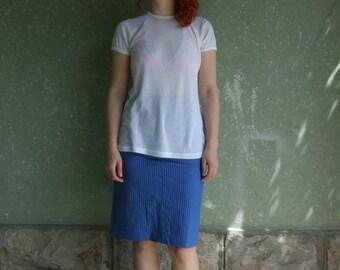ON SALE 90's vintage women's white transparent T-shirt