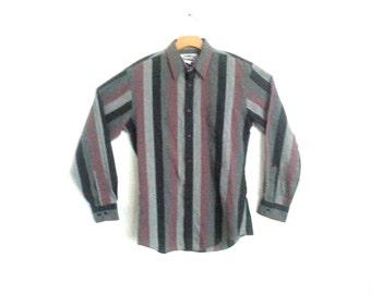 Men's VIntage 80's Vertical Striped Dress Shirt Men's Medium