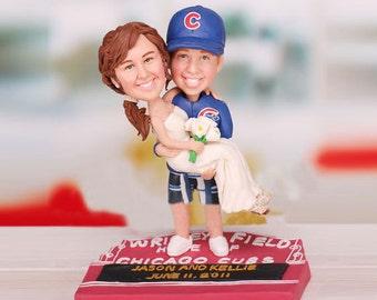 Personalised wedding cake topper - baseball fan wedding(Free shipping)