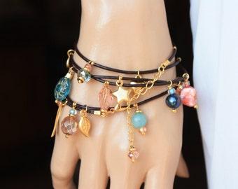 Leather Wrap Charm Bracelet ,  5xWrap Leather Bracelet with Colorful Gemstones