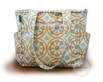Medallion diaper bag / robins egg blue diaper bag / gender neutral diaper bag