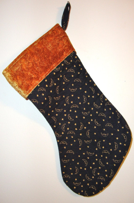 BEAUTIFUL HANDMADE Christmas Stocking, unique OOAK, black flannel w. copper moon and stars fabric and copper velvet top border,felt lining