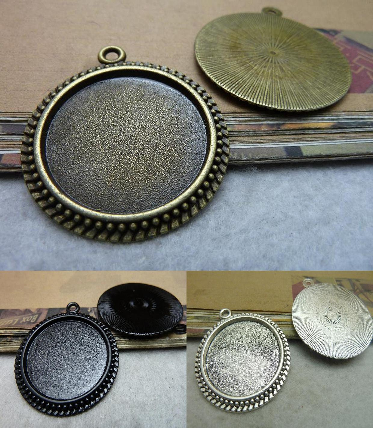 6 Antik Bronze schwarz Antik Silber Cabochon Basis rund 30mm ...