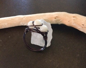 White Bead Wire Wrapped Ring