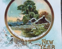 """Colorful Victorian New Year greeting postcard with inspirational poem """"Health, Happiness & Prosperity"""""""