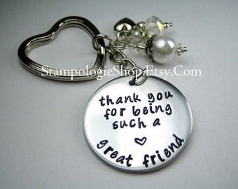 Thank You Keychain, Hand Stamped, Friend keychain, Friend Gift, Thank you Gift