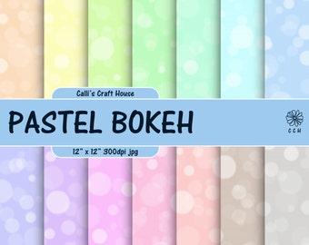 Pastel Bokeh Digital Paper - bokeh backgrounds in 14 pastel colors - digital bokeh paper - Commercial Use - Instant Download
