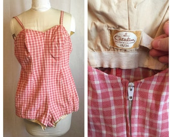 Vintage 1950's Red Gingham Catalina Playsuit
