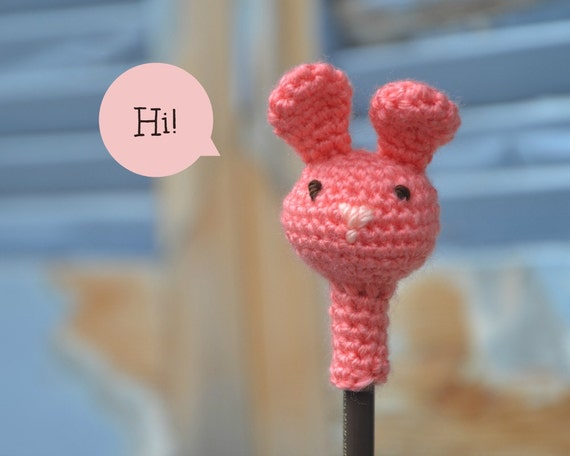 Amigurumi bunny pencil topper crochet animal head pencil cozy