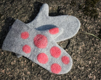 Felted Mittens, Handmade,white-red,Arm Warmers, Gloves , women, soft, wool, merino