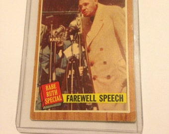 Vintage 1962 Topps 144 Babe Ruth special Farewell Speech Refrigerator Magnet collector card
