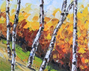 Birch Tree Painting, Birch Trees, Tree Art, Fall Painting, Landscape Art, Palette Knife, Colorful Painting, Original Oil, 8x10 Painting,Art