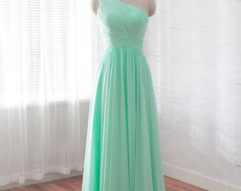 long prom dress, chiffon formal dress, One Shoulderevening dress