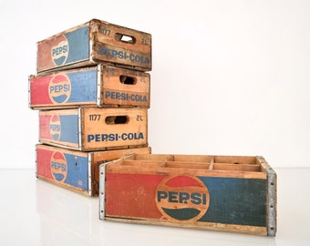 soda crate, Pepsi crate, wood crate, Pepsi Cola crate, antique crate, authentic wooden Pepsi crate with logo, vintage, 5 available