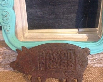 Cast Iron Bacon Press with Wooden Handle Pig Decor Rustic Kitchen Decor