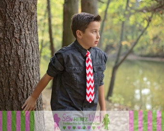 RED CHEVRON Necktie in Sizes Infant, Child, Youth, Men