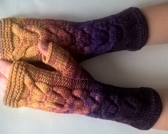 Multicolor ( PURPLE, YELLOW, orange, beige ) fingerless gloves, wrist warmers, fingerless mittens. Handmade, knitted of 100 %  WOOL.
