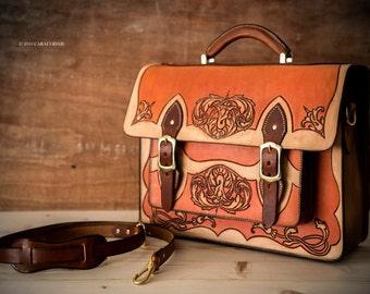 Leather satchel briefcase, tooled leather, shoulder bag, handbag, leather case, luggage, large, suitcase, laptop case, handmade