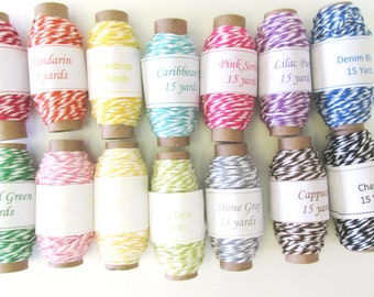 210 yards of Bakers Twine - 14 Colors - 15 yards per spool - 100% Cotton - Made in USA