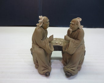 Mini Chinese Mudmen - Two Men Playing Checkers