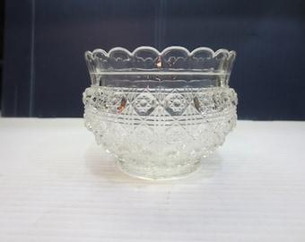 Bohemian Pressed Glass Rose Bowl, Candy Dish, Vase