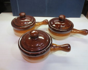 Set Of Three Traditional French Onion Soup Bowls