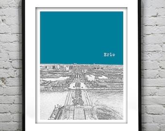 Erie PA Poster Print Art Pennsylvania PA Skyline Version 2