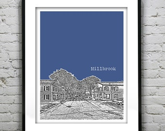 Millbrook New York Poster Art Skyline Print NY