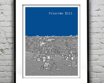 Primrose Hill London Poster Art Print Big Ben Britain England Version 17
