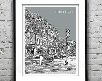 Somerville Davis Square Skyline Poster Art Print Somerville Massachusetts MA version 3