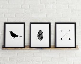 Set of 3 prints, 8 x 10 in, Bird, arrow & Pine fruit, Black and white print, Printable Art, Scandinavian Print, Instant Download