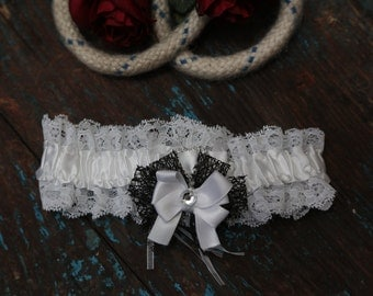 Brides Wedding Garter - With Hand Made Bow - Black & White Wedding Garter (All Colours Available)