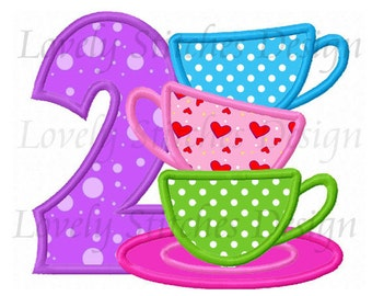 Tea Cups Number 2 Applique Machine Embroidery Design NO:0518