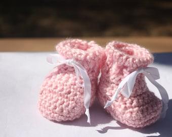 Pink Crochet Baby Booties -