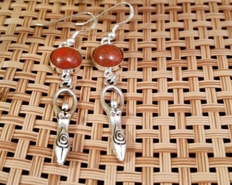 Carnelian and Sterling Silver GODDESS Earrings, Carnelian Agate, Carnelian Earrings, Goddess Earrings, Silver Earrings, Goddess, Hippie