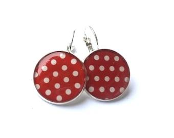 Red Polka Dot Earrings - Dangle Earrings, polka dot earrings, red and white earrings, polka dots jewelry,  teenager gift, gift for her