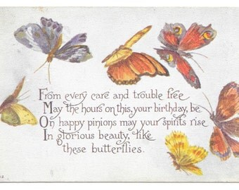Butterflies Birthday Postcard, c. 1910