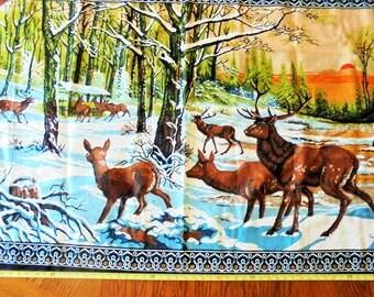 Deer in Forest Scene,Velvet-Like, Wall Hanging, Rug, Woods, Hunter, Rustic, Cabin Decor