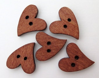 Wood Buttons - Brown Wood Heart Buttons - 5 pieces - 21X17mm