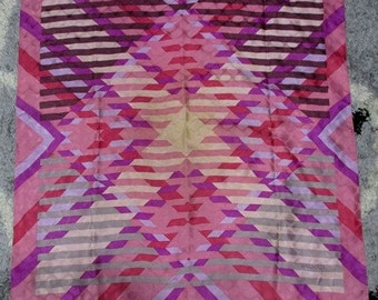 Vintage Balmain Paris Colorful Geometrics Pattern with Texture 100% Silk Scarf - Free Shipping