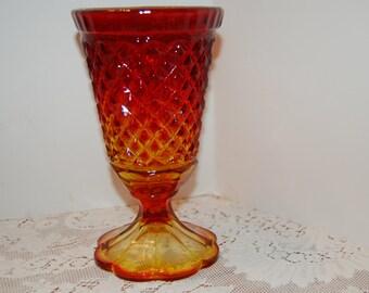 Vintage Amberina Flower Vase, Diamond Flower Vase, Glass Vase, Amberina Glass