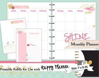 Happy Planner PRINTABLE Monthly Planner Refills / Inserts - PDF  7 x 9.25   Happy Planner | Create 365 | Me & My Big Ideas | mambi