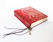 Red and Cream Damask Coptic Journal, Notebook, Sketchbook