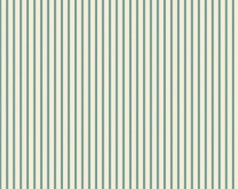 Aqua Ticking Stripe Fabric Maywood Studio, vintage style fabric, vintage chic, red stripes, red ticking, shabby chic, woodland, country