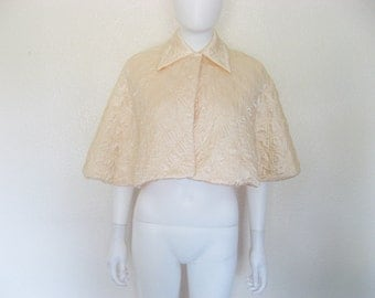 Vintage Peach Quilted Capelet / Cape