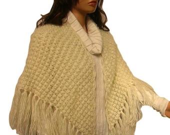 Cream Mohair Hand Knit Wedding Shawl, Bridal Wrap, Ready to Ship, EXPRESS Cargo