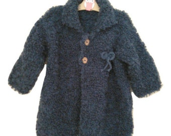 Long Sleeve Blue Cardigan, Girl Coats, Jacket, Baby Sweater, Wood Buttons, Hand Knit, Ready to Ship