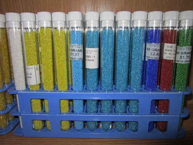 60 Seed Bead Storage Tubes With Holder
