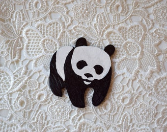 Panda wood brooch Animal badge Wooden pin WWF symbol Hand painted panda pin Teen gift Girlfriend gift Scarf accessory animal lover gift